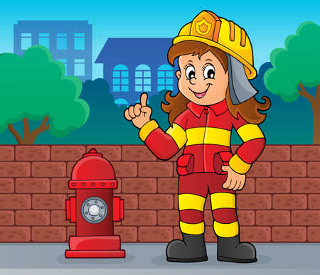 Firefighter woman image 2 - eps10 vector illustration.