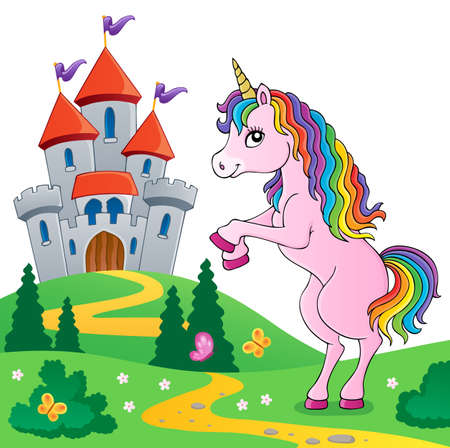 Standing unicorn theme image 6 - eps10 vector illustration. Illustration