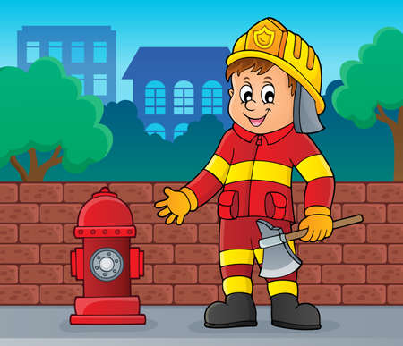 Firefighter man image 2 - eps10 vector illustration.