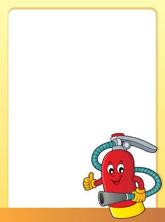 Fire extinguisher topic frame 1 - eps10 vector illustration. Stock Illustratie