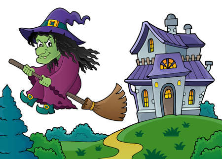 Witch on broom theme image 8 - eps10 vector illustration.