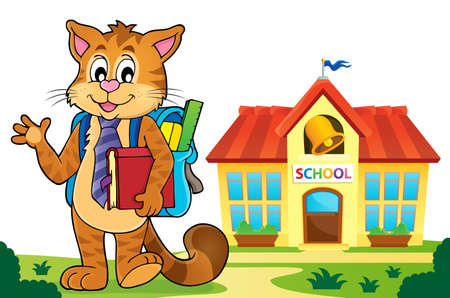 School cat theme image 5 - eps10 vector illustration. Illustration