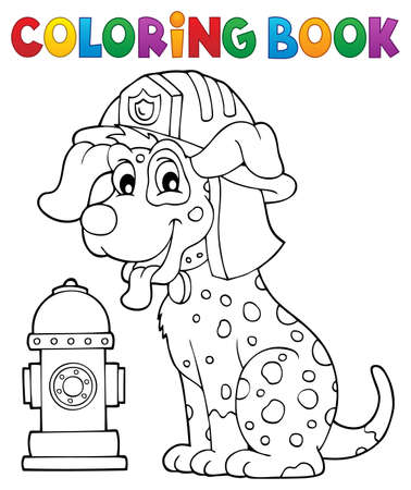 Coloring book firefighter dog theme 1 - eps10 vector illustration.