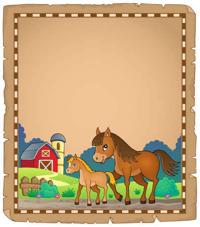 Horse with foal theme parchment 1 - eps10 vector illustration.  イラスト・ベクター素材
