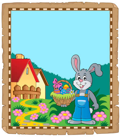 Parchment with Easter bunny topic 9 - eps10 vector illustration.