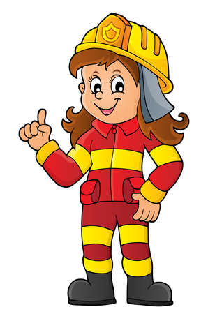 Firefighter woman image 1 - eps10 vector illustration.