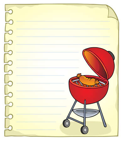 Notepad page with barbeque topic 1 - eps10 vector illustration.