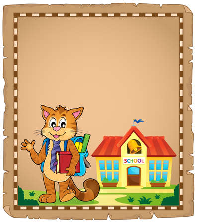 School cat theme parchment 1 - eps10 vector illustration.