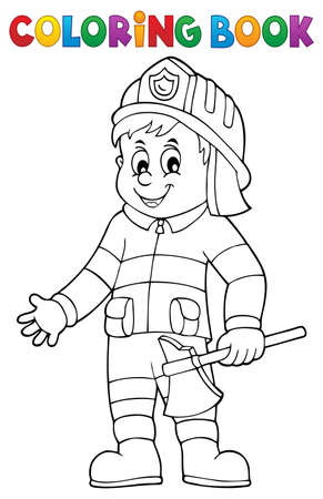 Coloring book firefighter man 1 - eps10 vector illustration.