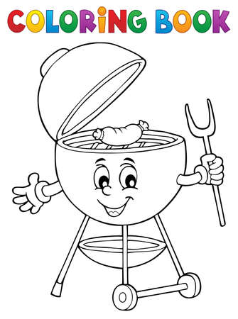 Coloring book barbeque theme 3 - eps10 vector illustration. Illustration