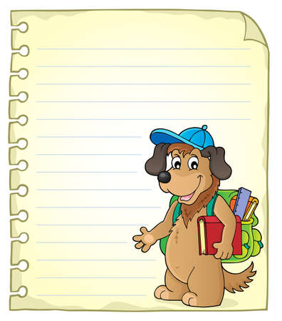 Notepad page with school dog - eps10 vector illustration. Illustration