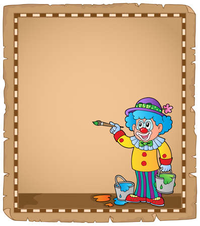 Parchment with painting clown - eps10 vector illustration. Illustration