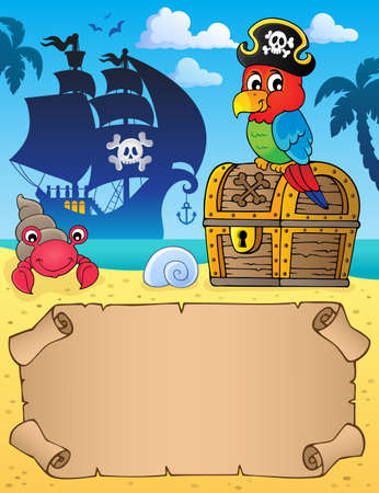 Small parchment with pirate parrot Illustration