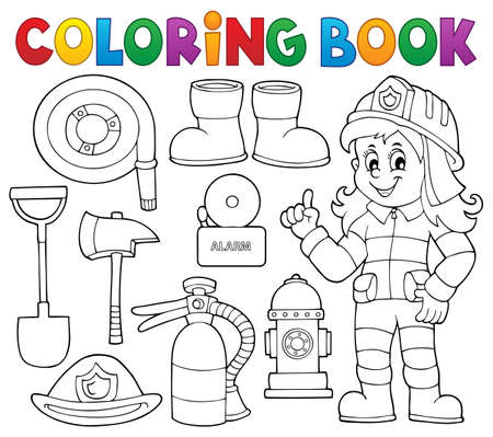 Coloring book firefighter theme set