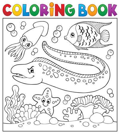 Coloring book sea life theme 向量圖像