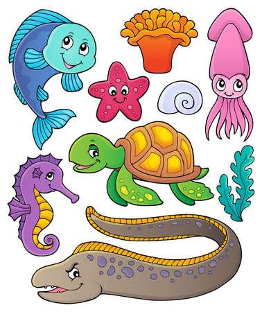 Sea life theme collection 向量圖像