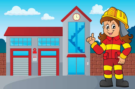 Firefighter woman image Illustration