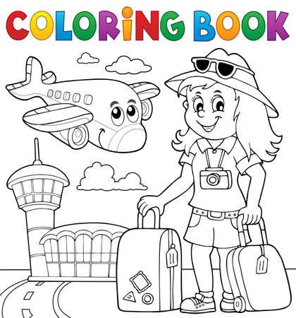 Kleurboek toeristische vrouw thema