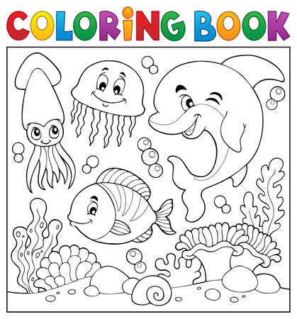 Coloring book sea life theme 向量圖像