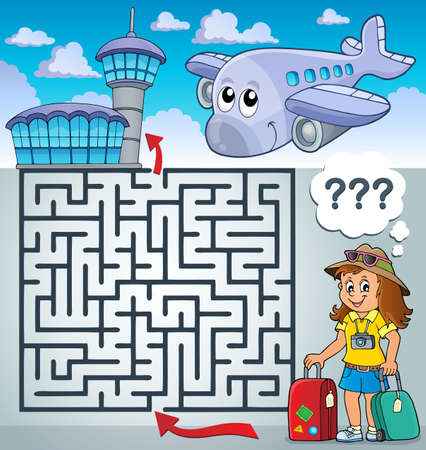 Maze 3 with tourist woman Illustration