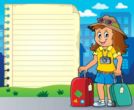 Notepad page with happy tourist woman