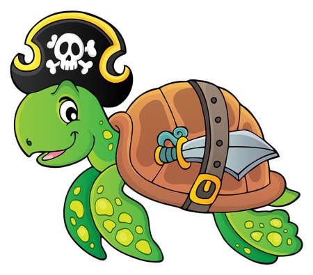 Imagen del tema de la tortuga pirata Ilustración de vector