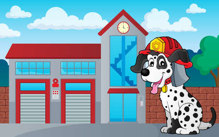Firefighter dog theme 3 - eps10 vector illustration. Reklamní fotografie - 104699980