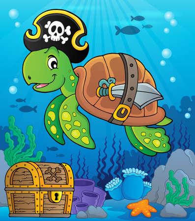 Pirate turtle theme image Illustration