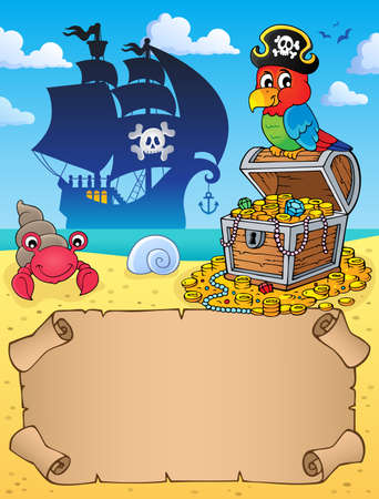 Small parchment with parrot and treasure Illustration