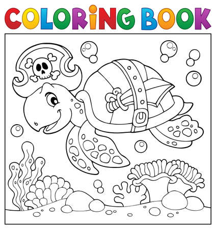 Coloring book pirate turtle theme