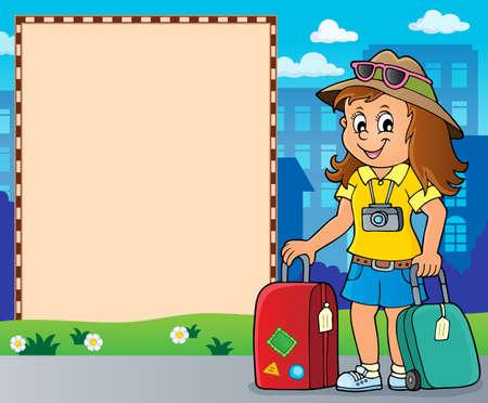 Tourist woman theme frame