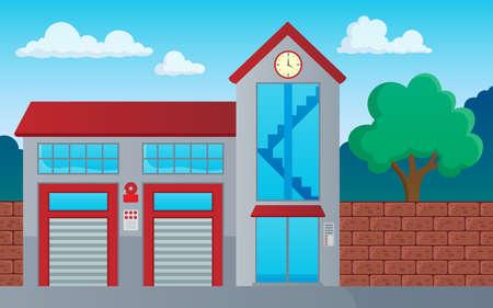 Tema del edificio del departamento de bomberos