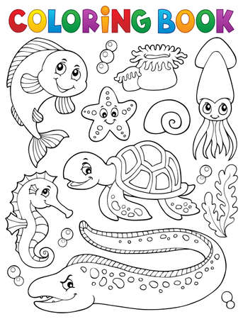 Coloring book sea life collection Illustration