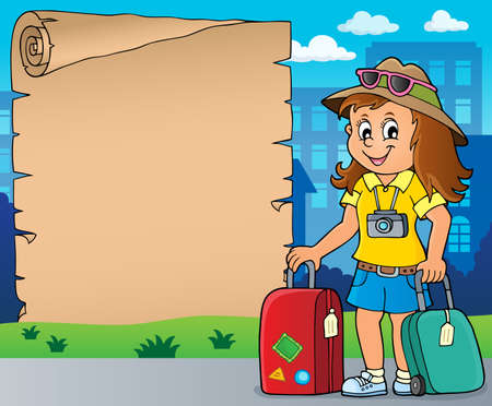 Tourist woman theme parchment Illustration