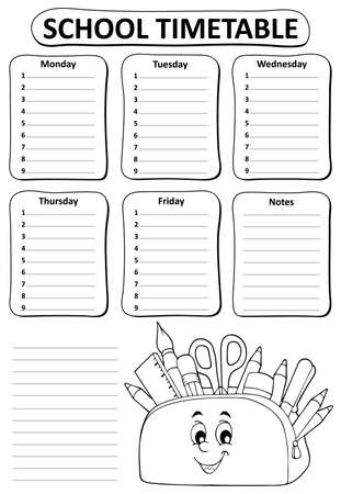 Black and white school timetable topic 2 - eps10 vector illustration.