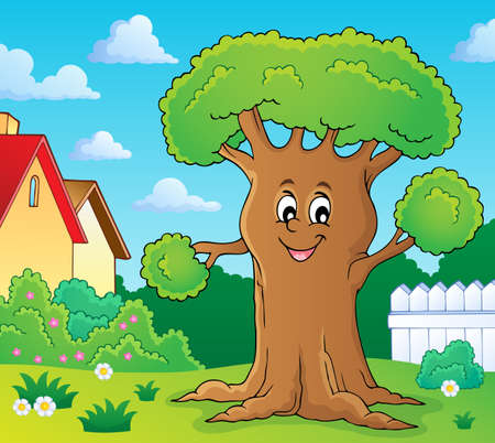 Cheerful tree theme image 2 - eps10 vector illustration.
