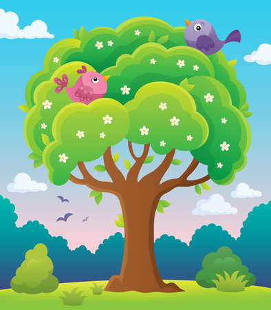 Springtime tree topic image 5 - eps10 vector illustration. Illustration