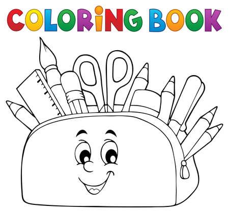 Coloring book pencil case theme 2 - eps10 vector illustration.