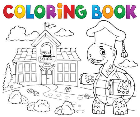 Coloring book turtle teacher theme 2 - eps10 vector illustration.