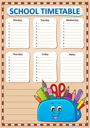 Weekly school timetable template 3 - eps10 vector illustration.