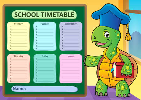 Weekly school timetable template 1 - eps10 vector illustration.