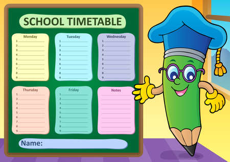 Weekly school timetable template 2 - eps10 vector illustration.