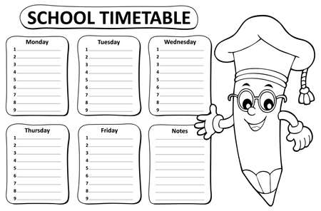 Black and white school timetable topic 1 - eps10 vector illustration.