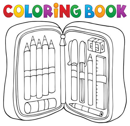 Coloring book pencil case theme 1 - eps10 vector illustration. Illustration