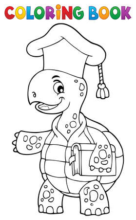 Coloring book turtle teacher theme 1 - eps10 vector illustration. Illustration
