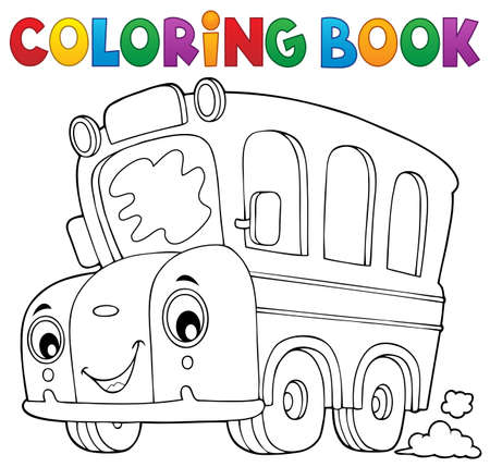 Coloring book school bus theme 5 - eps10 vector illustration. Illustration