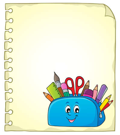 Notepad page with happy pencil case - eps10 vector illustration.