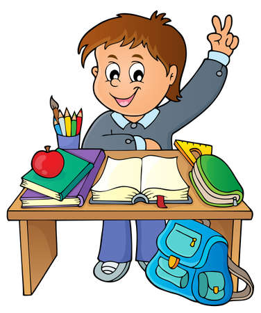 Boy behind school desk theme image 1 - eps10 vector illustration.