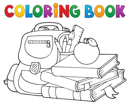 Coloring book school equipment 1 - eps10 vector illustration.