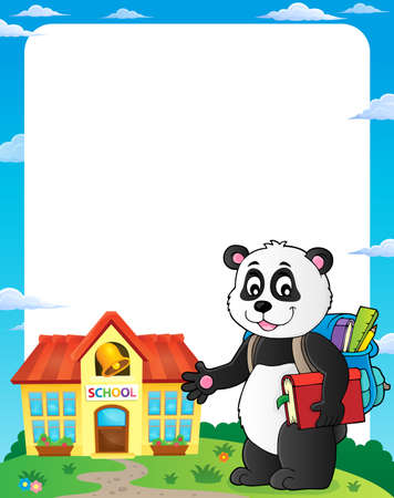 School panda theme frame 1 - eps10 vector illustration. Illustration